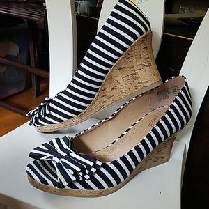 Black and White Cork Wedge PeepToe Sandal 8